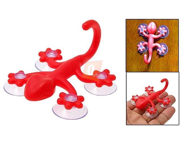 Držák se 4 přísavkami ve tvaru gekona -  červený 1