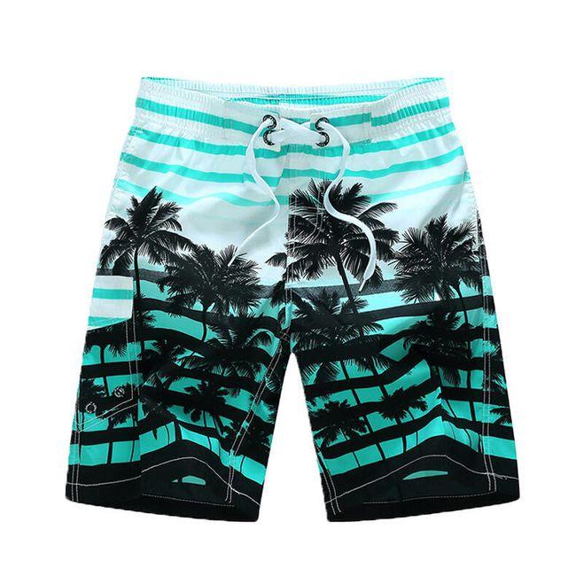 Pánské šortky do vody s palmami - Modrá-velikost č. 10 1