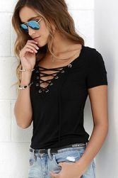 Koszulka damska z dekoltem do V i sznurkiem