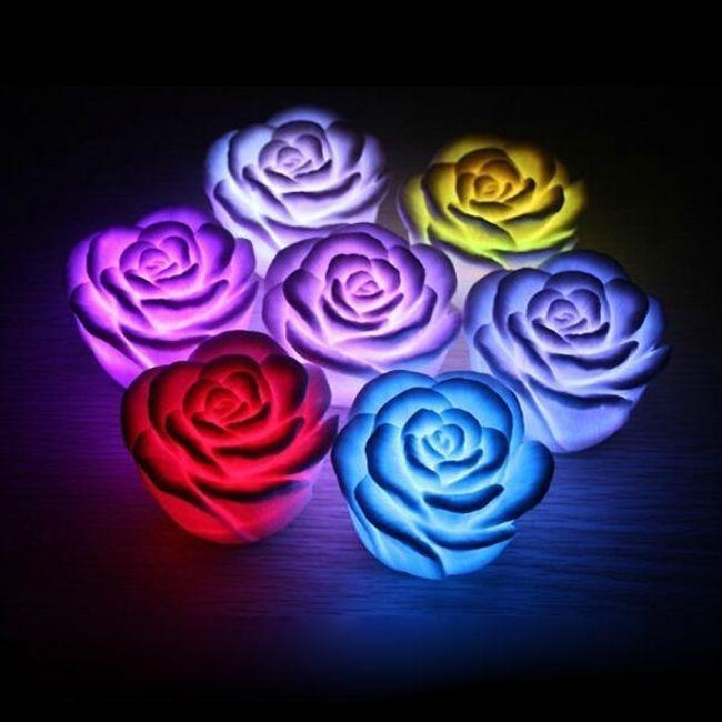 Lampă LED în formă de trandafir - culori diferite 1