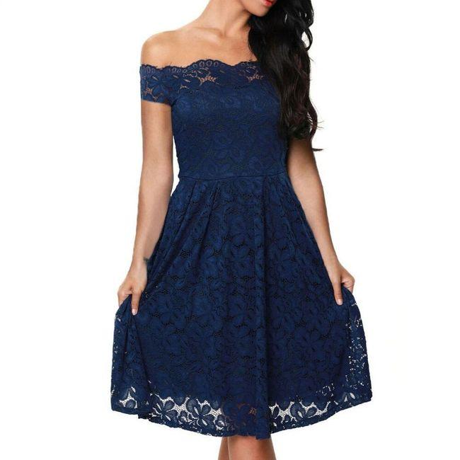 Šaty pro dámy se spadlými rameny - Modrá-velikost č. 5 1