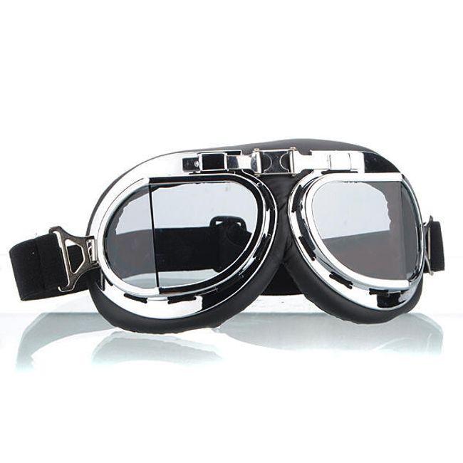 Motorystyczne srebrne oklulary - pzreźroczyste szkła 1