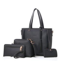 Dört parçalı moda çanta seti - 5 renk Siyah