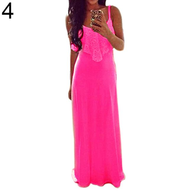 Dámské maxi šaty v živých barvách - rose červená - velikost č. 4 1