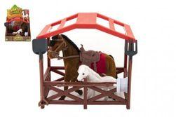 Kôň sa sedlom s žriebätkom flíska plast s ohradou s doplnkami v krabici 23x20x15cm RM_00850378
