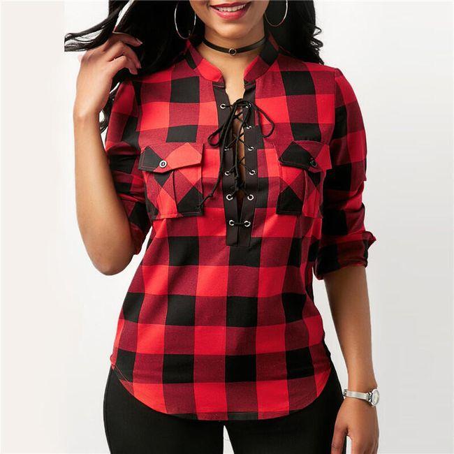 Ženska karirana košulja plus veličine - 4 boje 1