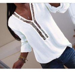 Moderna bluza sa sjajem u izrezu - 4 boje