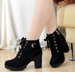 Jesienne buty damskie na obcasie - 3 kolory Czarny rozmiar 37