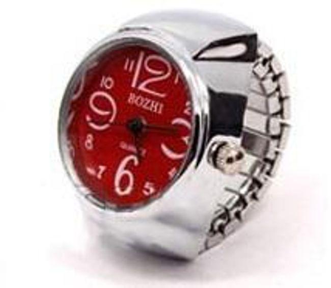 Prstýnkové hodinky s mohutným ciferníkem - červená 1