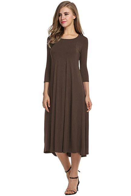 Dámské šaty s tříčtvrtečním rukávem - kávová-5 1