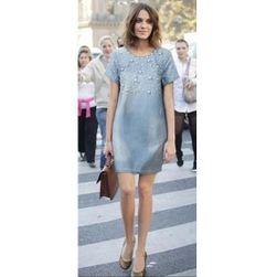 Dámské džínové šaty s perličkami - velikost č. 2