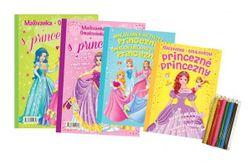 """_Színező oldalak + tevékenységek / kifestőkönyvek + tevékenységek Hercegnők / hercegnők 4db + zsírkréták CZ + SK változat táskában 21x29cm """" RM_47340608"""
