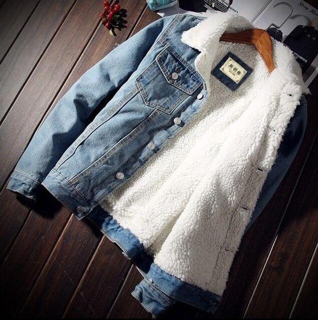 Džínová bunda s kožíškem - Světle modrá-velikost č. 6 1