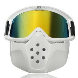 Odnímatelná ochranná maska na obličej + ochranné brýle (bílá/žlutá verze)