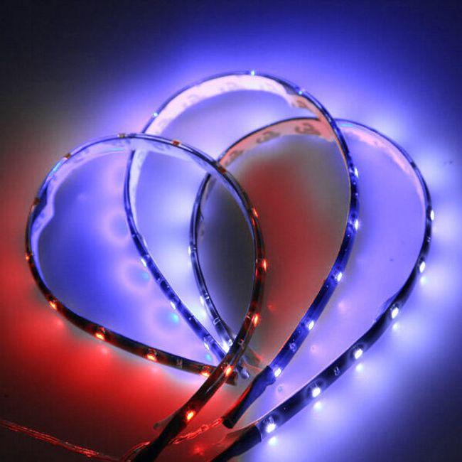 12 V LED лента за мотоциклет или автомобил - 3 цвята на светлина, 30 cm 1