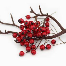 Dekoracja - czerwone jagody - 50 szt