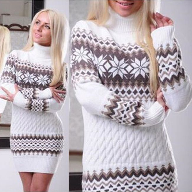 Dámský zimní svetr s rolákem - Bílá-velikost č. 4 1
