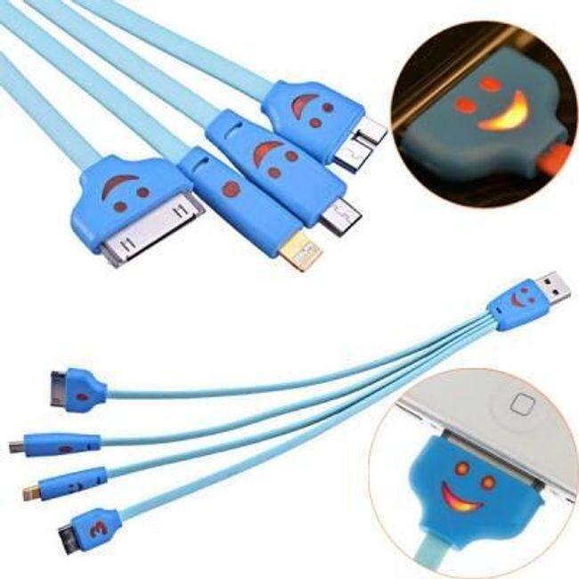 Multifunkční USB nabíjecí kabel 4v1 s podsvícením 1