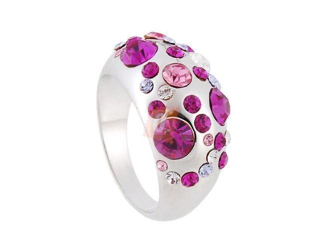 Prstýnek s fialovými kamínky - stříbrná barva 1