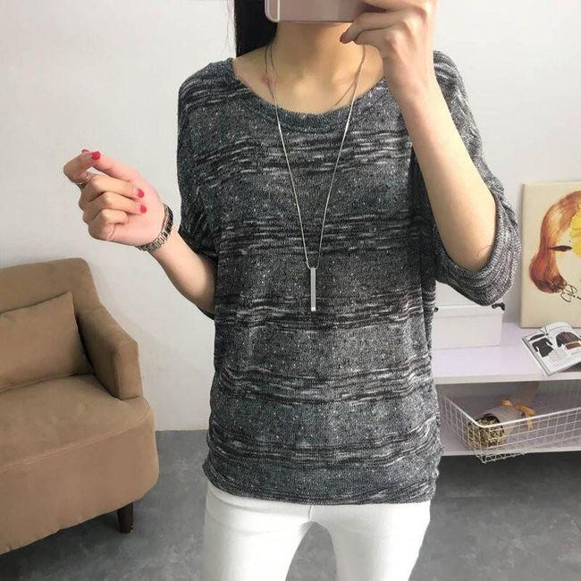 Pruhovaný dámský svetr s 3/4 rukávem - 5 barev 1