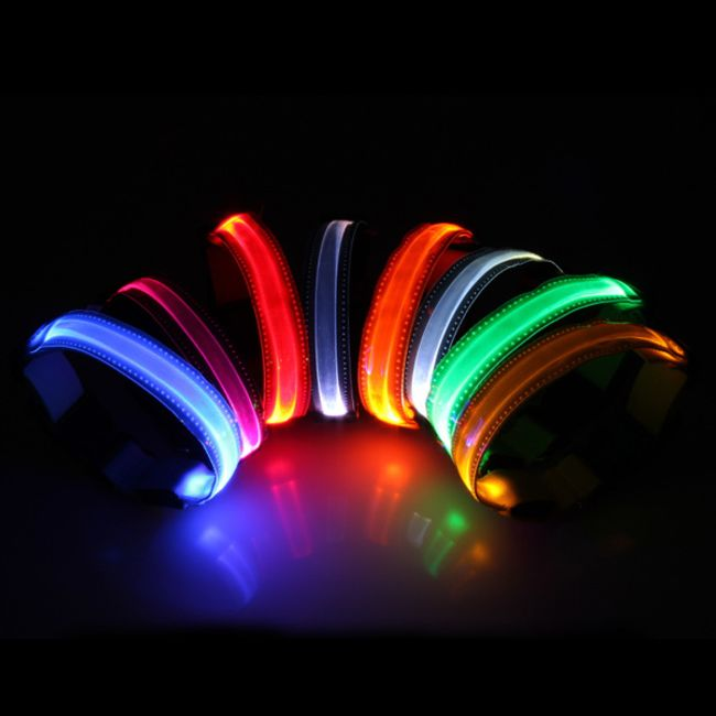 Светещ LED нашийник - 4 размери, 8 цвята 1