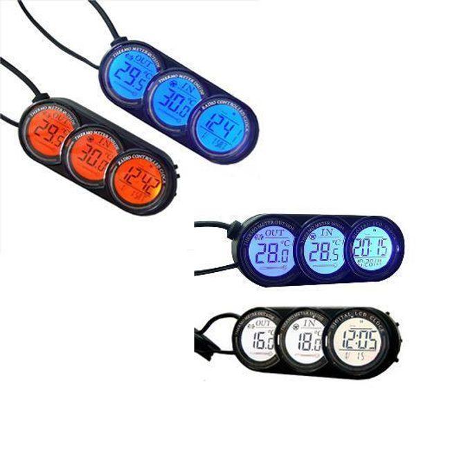 Digitální autohodiny s teploměrem a přepínacím barevným podsvícením 1