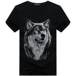 Tricou imprimat cu lup pentru bărbați - 4 culori