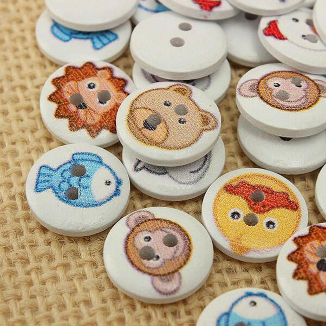 100 kosov lesenih gumbov z živalskimi motivi 1