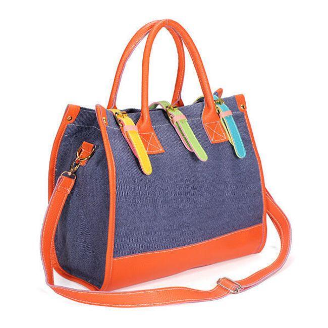 Dámská kabelka s barevnými pásky 1