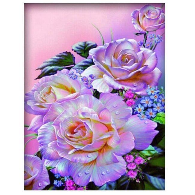 DIY obraz z kamínků - květy růží 1