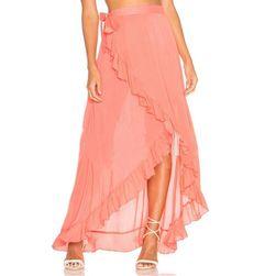 Dlouhá zavinovací sukně asymetrického střihu