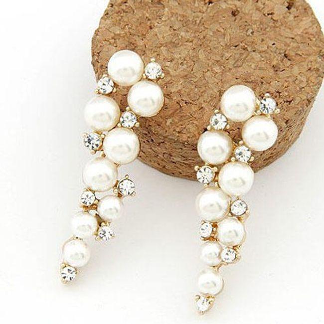 Dámské náušnice s perlami a třpytivými kamínky 1