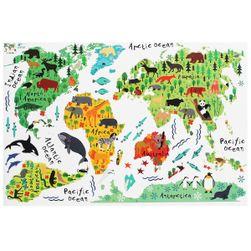Stenska nalepka - zemljevid sveta z živalmi
