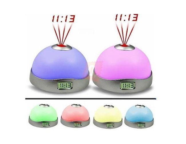 LED budzik z siedmioma kolorami światła i projektorem 1