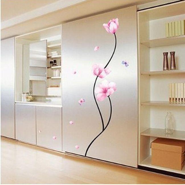 Autocolant pentru perete - 3 flori roz 1