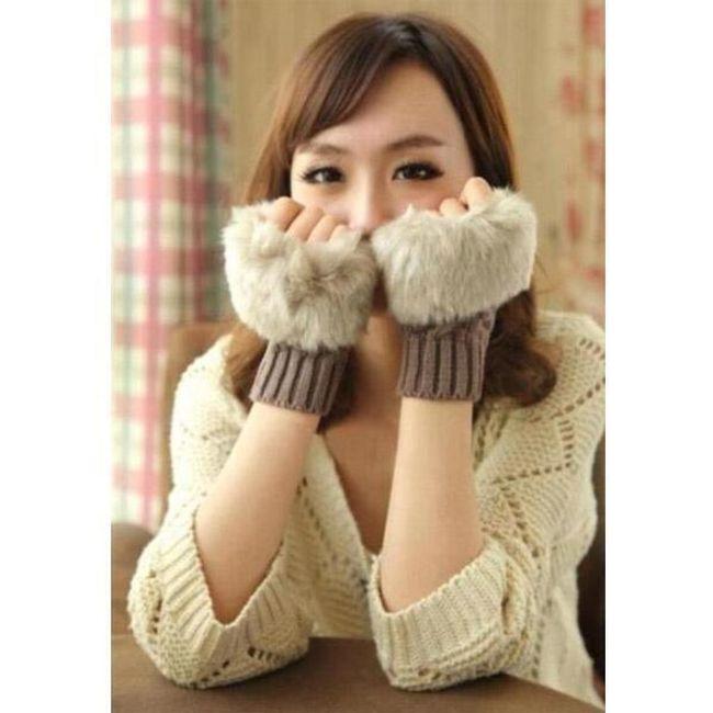 Modne tople rukavice sa veštačkim krznom 1