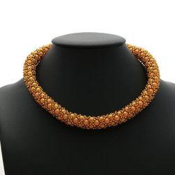 Zlatý náhrdelník+náušnice- obšívané perličky