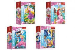Minipuzzle 54 dílků Dobrodružný svět princezen 4 druhy v krabičce 9x6,5x4cm 40ks v boxu RM_89154175