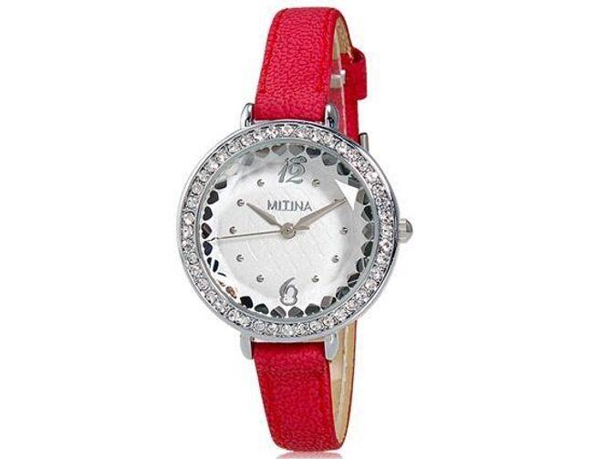 Dámské hodinky MITINA s červeným páskem 1