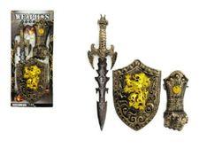 Meč se štítem a doplňky rytíř 3ks plast na kartě RM_00312751