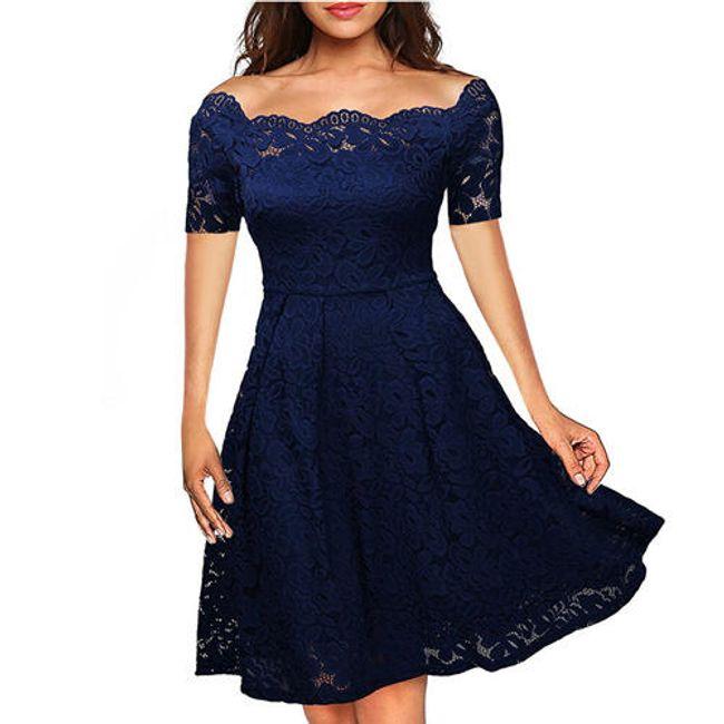 Společenské krajkové šaty - Modrá2-velikost č. 7 1