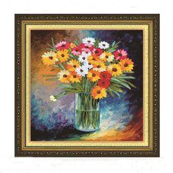 DIY kép - szövés szalagok - virágok