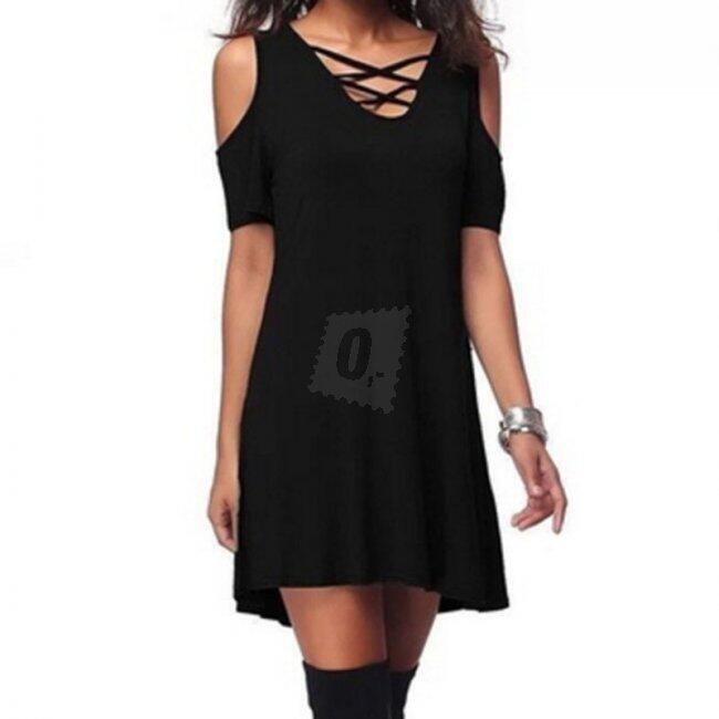 Šaty s křížky ve výstřihu - Černá-velikost č. 4 1