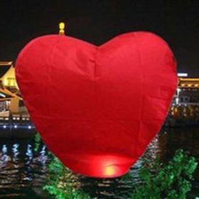 Lampion štěstí ve tvaru srdce - 10 kusů 1