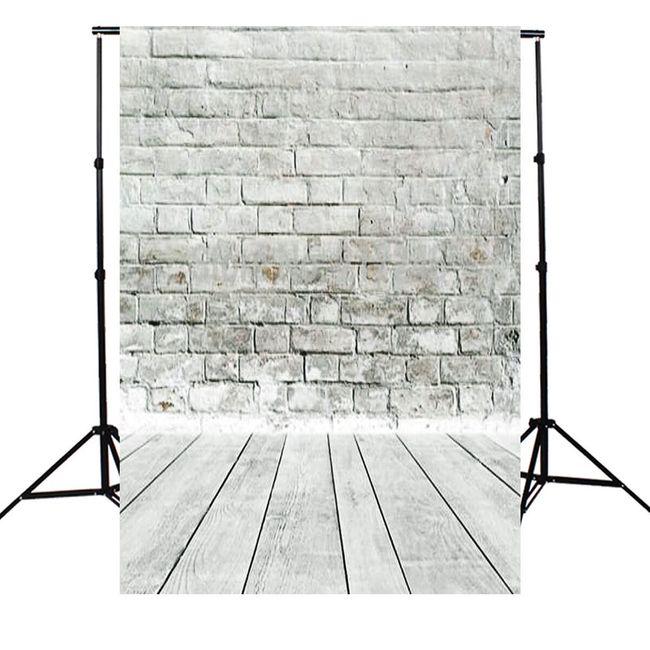 Ozadje za studijsko fotografijo 1,5 x 2,1 m - Siva opečnata stena z lesenimi tlemi 1