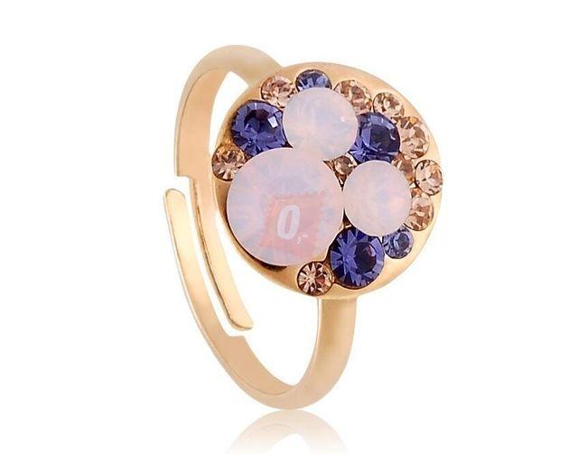 Prstýnek s barevnými kamínky - zlatá barva 1