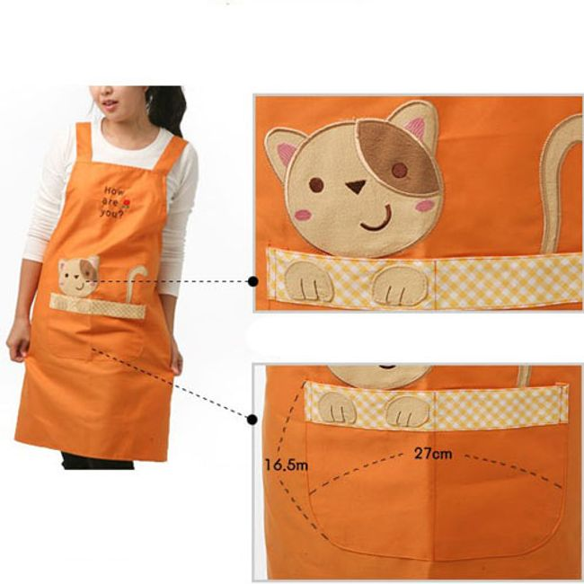 Kuchyňská zástěra s kapsami - kočka 1