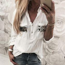 Dámská košile s lesklými kapsami