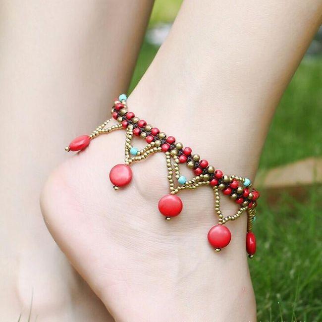 Бисерный браслет на ногу в стиле богемы 1