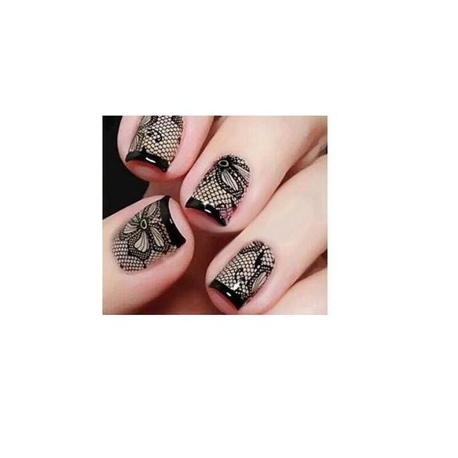 Ozdobná nalepovací krajka na nehty - 10 listů 1